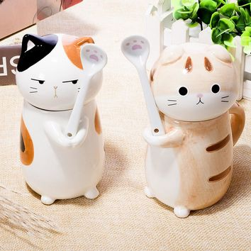9OZ Cute Cat Dog 3D Ceramic Coffee Mug Breakfast Milk Cup with Lid and Spoon Drink Bottle for Birthday Gift DEC214