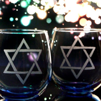 Star of David - Blue Stemless Wine glasses - Set of two Shield