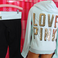 Victoria's Secret M set ~Pink Fashion Show~ Limited Edition Sequin Bling Hoodie