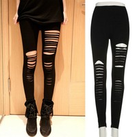 Sexy Women Goth Punk Slashed Ripped Stretchy Black Pants Casual Leggings