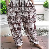 Brown Elephant Yoga Pants Baggy Boho Printed Hippie Gypsy Tribal Aladdin Clothing Beach Casual Tank Trousers Dress Wild Legs Unisex Hobo