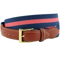 Looks Good with Everything Leather Tab Surcingle Stripe Belt Navy/Nantucket Red by Country Club Prep (Final Sale)