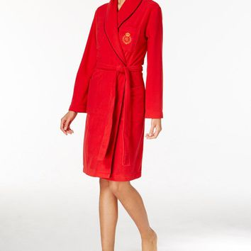 Lauren Ralph Lauren Shawl Collar Fleece Wrap Robe 8141138