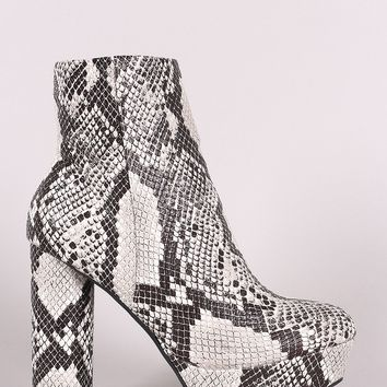 Bamboo Snakeskin Platform Cylindrical Heeled Booties