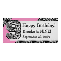 9th Birthday Zebra with Pink Custom Name V05 Posters