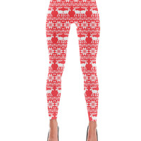 Ugly Holiday Moose Pattern Infra Red Leggings