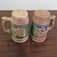 Vintage 1960s German Beer Stein Salt and Pepper Shakers Made in Japan / Retro Oktoberfest Beer Mugs