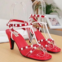Valentino Women Fashion Leather Sandals High Heels Shoes