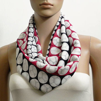 Polka Dot Black Infinity Scarf Shawl White Red Fashion Scarves for Women Soft Cowl Scarf Tube Scarf Summer Scarf Gift for her Handmade