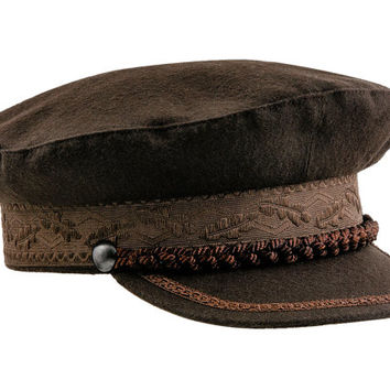 Kashubia type merchant fleet officer peaked cap. Sailor / Mariner / Captains hat - brown