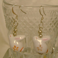 Pink Peach Cream White Porcelain Rabbit Earrings Silver French Hook Dangle Gift fashion under 20