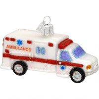 Ambulance Glass Ornament