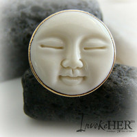 Lux Divine 24K Electroplated Boho Moon Face Ring