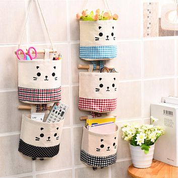 Home Cotton Linen Storage bag Creative Wardrobe Hang Bag Wall Pouch Cosmetic Toys Organize Pockets stationery Contain for Room