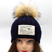 Patch Woolen Ball Top Waring Knitted Hat