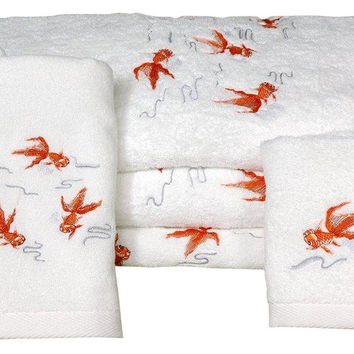 Koi Fish Bath Set - 7 Piece - White - Traditional - Towels - Oriental Furniture