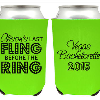 Bachelorette Koozies, Last Fling Before the Ring Koozies, Bachelorette Coolies for Bachelorette Party