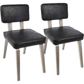 Nunzio Mid-Century Modern Dining Chairs with Black PU, Light Grey (Set of 2)