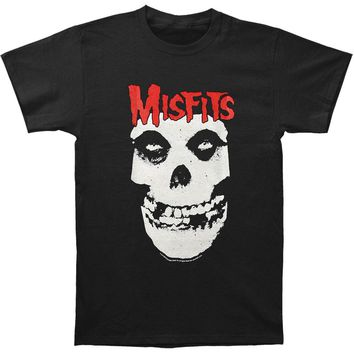 Misfits Men's  Red Logo Skull T-shirt Black