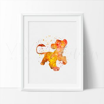 Lion King Simba Watercolor Art Print