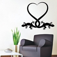 Lizard Heart Love Reptile Animals Wall Decals Vinyl Decal Sticker Home Interior Design Art Mural Living Room Kids Nursery Baby Room Decor
