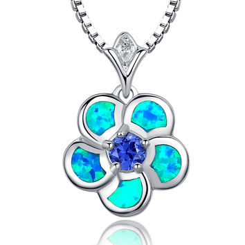 Sterling Silver Regal Flower Blue Green Fire Opal and Purple CZ Pendant Necklace