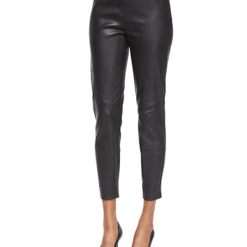 Stretch Leather Cropped Leggings, Size: