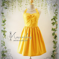 The Goddess Yellow Dress Mustard Dress Vintage Inspired Party Dress Tea Party Garden Dress Bridesmaid Wedding Bridal Dress -Size S-M-