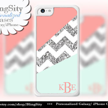 Coral Mint Sparkle Chevron Monogram iPhone 5C case, 5 iPhone 4 Case Ipod 4 5 Case Gray Grey Block Personalized Gift NOT Actual Glitter