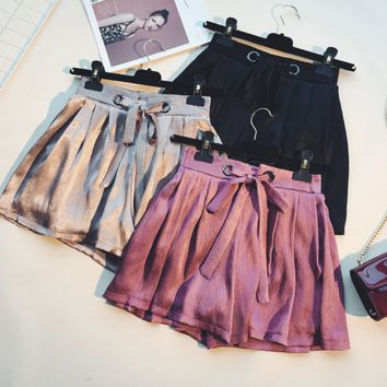Pure color  Casual Strappy Bow Shorts