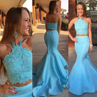 Two Piece Light Blue Mermaid Prom Dresses 2016 Robe de soiree Halter Appliques Graduation Party Evening Princess Gowns Fast Ship