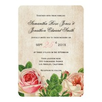 Vintage Roses Floral Wedding Invitation