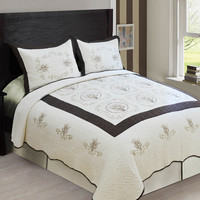3-Piece High Quality Fully Quilted Embroidery Quilts Bedspread Bed Cover Set  (Beige/Brown)