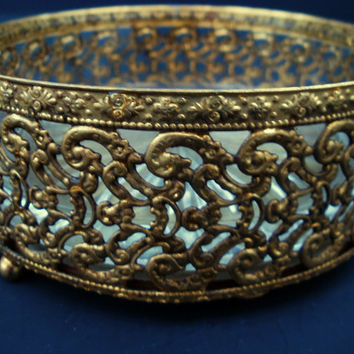 Vintage Gold Gilt Filigree Brass Soap Dish Bowl Bathroom Accessory Mid Century