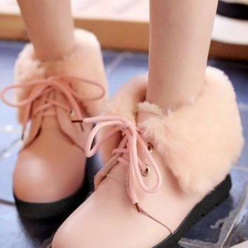Pink Round Toe Flat Faux Fur Patchwork Casual Boots