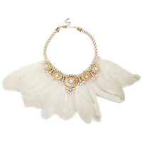 River Island Womens Cream embellished feather necklace