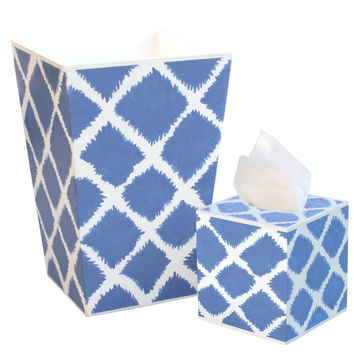 Allen G Designs Hand Painted Wooden Wastebasket and Tissue Box Set - Lovely Blue and White Theme