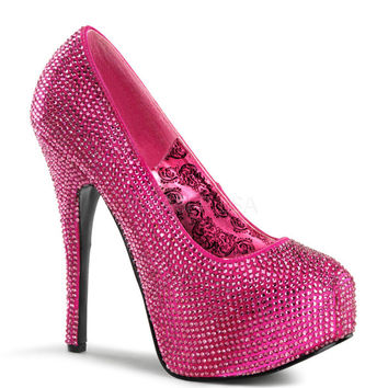 Teeze Hot Pink Rhinestone Platform Pump by Bordello Shoes