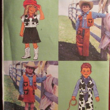 SALE Uncut Butterick Sewing Pattern, 3991!  2 Avail/Toddlers/Girls/Boys/Kids/Children's Halloween Costumes/Cowboy/Cowgirl/Rodeo Costume/Vest