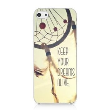 CRHK® Dream Catcher KEEP YOUR DREAMS ALIVE Quote Pattern Clear Back Skin Snap on Case Cover for 2013 Apple iPhone 5C + Screen Protector + CRHK stylus
