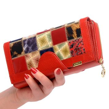 Fashion Brand Long Genuine Leather Women Wallets Coin Purse Trifold Female Wallet  Organizer Clutches cell Phone Holder Wallet