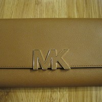 Michael Kors Florence MK Logo Acorn Leather Large Bifold Wallet - Brand New