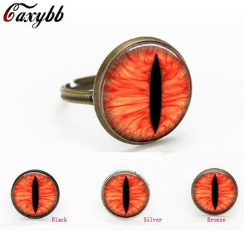3 colors Red dragon eye Cat glass dome cabochon Art handmade Jewelry rings gift for send friend adjustable rings handmade 100%