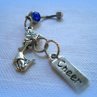 Cheerleader Belly Ring, Sports Jewelry,Cheer Squad,Navel Ring,Athlete,Team Spirit,Ready to Ship,