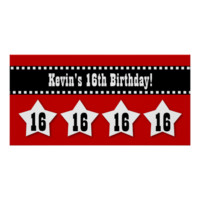16th Birthday Banner with Stars Custom Name V16S Posters