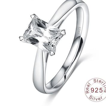 LZESHINE The Ring Sterling-silver-jewelry with Square Shape AAA Hearts & Arrows Cubic Zircon Wedding CZ Diamond-jewelry SRI0049