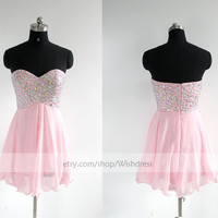Handmade Sequins Sweetheart Pink Chiffon Short Prom Dress/ Formal Cocktail Dress/ Party Dress/ Homecoming Dress /Sweet 16 Dress By Wishdress