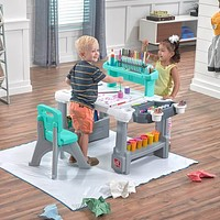 Step 2 Deluxe Desk & Stool Art Creative Projects & Organizer Center with Splat Mat