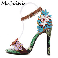 MoBeiNi Women High Heels Sandals Appliques snake texture Ankle Strap Shoes party Shoes Woman 2017 New Summer Gladiator Sandals