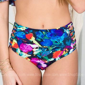 Neon Floral Swimsuit Bottoms